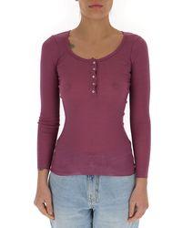 Étoile Isabel Marant - Buttoned Neck Long-sleeve Top - Lyst