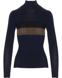 Fendi Contrasting Stripe Roll Neck Sweater - Blue