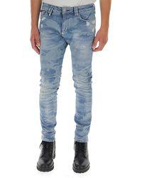 Philipp Plein Camouflage Print Jeans - Blue