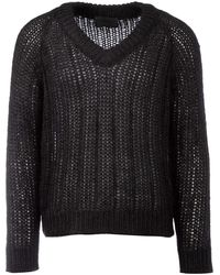Prada Knitted V-neck Jumper - Black