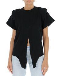 Isabel Marant Padded Shoulder Knotted T-shirt - Black