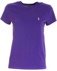 Polo Ralph Lauren Logo Embroidered T-shirt - Purple