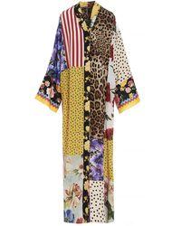Dolce & Gabbana Patchwork V-neck Caftan - Multicolor
