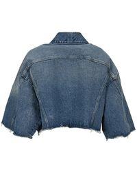 MM6 by Maison Martin Margiela Cropped Denim Jacket - Blue
