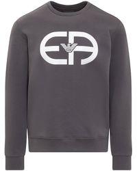 Emporio Armani Logo Printed Crewneck Sweatshirt - Grey