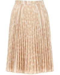 Burberry Deer Print Pleated Skirt - Natural