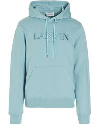Lanvin Logo Embroidered Hoodie - Blue