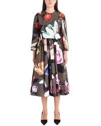 Prada Floral Print Flared Dress - Multicolor