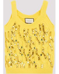 Gucci Cable Knit Wool Tank Top With Sequins S - Yellow