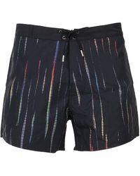Saint Laurent Striped Swimming Shorts - Black