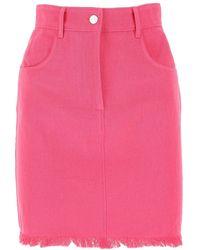 MSGM Frayed-hem Mini Denim Skirt - Pink