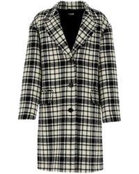 Miu Miu Checked Single-breasted Coat - Black