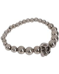 Alexander McQueen - Skull Charm Beaded Bracelet - Lyst