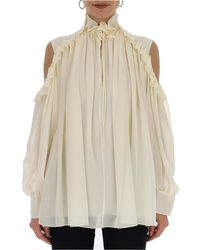 Chloé Cold-shoulder Blouse - White