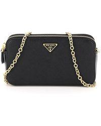 Prada Logo Plaque Mini Chain Bag - Black