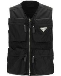 Prada Multi-pocket Vest In Re-nylon M - Black