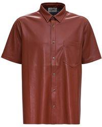 Nanushka Adam Brown Vegan Leather Shirt