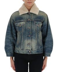 Gucci Shearling Collar Denim Jacket - Blue