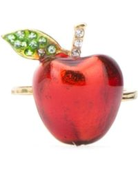 Miu Miu Crystal Embellished Apple Ring - Multicolour