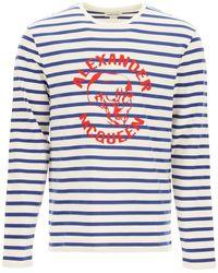 Alexander McQueen Logo Printed Striped Long Sleeve T-shirt - Blue
