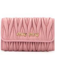 Miu Miu Matelassé Quilted Key Holder - Pink