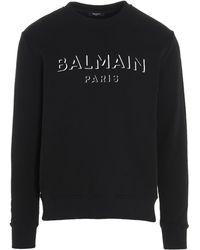Balmain 3d Effect Logo Sweatshirt - Black