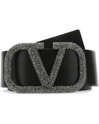 Valentino Vring Crystal Embellished Buckle Belt - Black