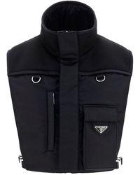 Prada Front Pocket High-neck Gilet - Black