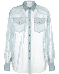 Brunello Cucinelli Sheer Western Shirt - Blue