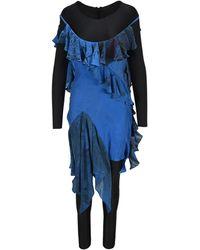 Marine Serre Ruffled Layered Roundneck Jumpsuit - Blue