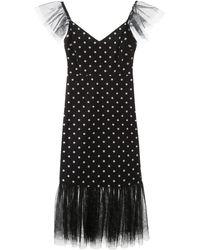 STAUD Polka-dot Ruffled Tulle Dress - Black