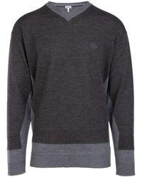Loewe Double V-neck Sweater - Grey