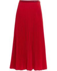 Prada Pleated Midi Skirt - Red