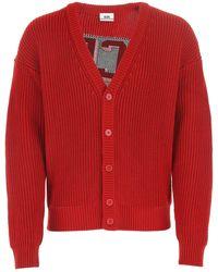 Gcds Logo Intarsia V-neck Cardigan - Red