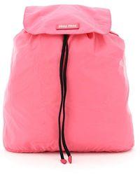 Miu Miu Packable Nylon Backpack - Pink