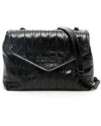 Miu Miu Quilted Foldover Logo Crossbody Bag - Black