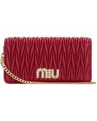 Miu Miu Matelassé Chain Clutch Bag - Red