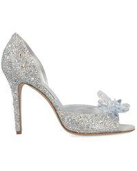 Jimmy Choo Anilla 100mm Crystal-embellished Court Shoes - Metallic