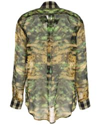 Burberry Camouflage Printed Blouse - Green