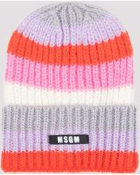 MSGM Logo Patch Striped Beanie - Red