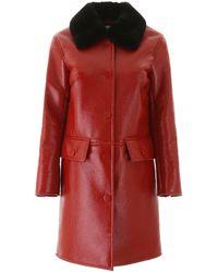 Stand Studio Faux Fur-trim Coat - Red