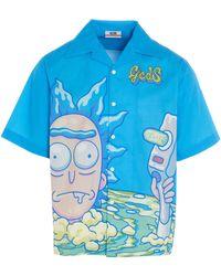 Gcds Men's Rm21m02000207 Light Blue Other Materials Shirt