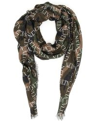 Valentino Vltn Camouflage Printed Scarf - Green