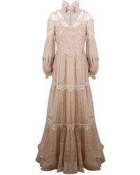 Alberta Ferretti Lace Detailed Maxi Dress - Pink