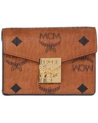 MCM Small Patricia Visetos Wallet - Brown
