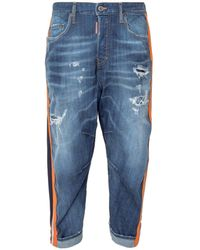 DSquared² Contrast Paneled Cropped Pants - Blue