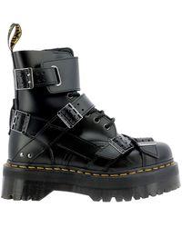 Dr. Martens Jadon Strap Military Boots - Black