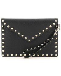 Valentino Garavani Rockstud Envelope Clutch Bag - Black