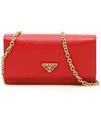 Prada Saffiano Logo Clutch Bag - Red