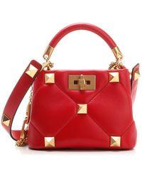Valentino Garavani Roman Stud Small Top-handle Bag - Red